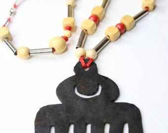 Leather Duafe Adinkra Necklace