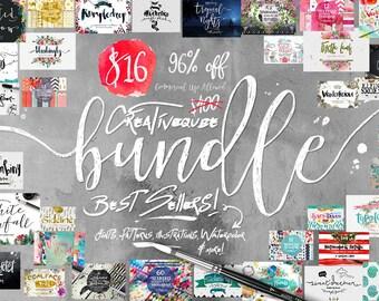 Digital fonts Bundle and Graphics, 96% Off SALE, modern Calligraphy font bundle, Brush, script, display, Watercolor Paper, Wedding, logo