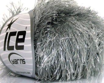 gray eyelash yarn . 75m 82yd . ice yarns . fun fur eyelash faux fur novelty yarn . silvery grey platinum pewter . bulky chunky eyelash yarn