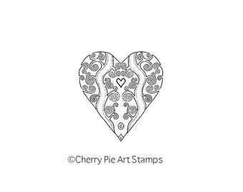 Swirly HEART - CLinG RUBBER STAMP by Cherry Pie D158