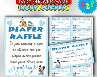 Baby Mickey Mouse Diaper Raffle Inserts, Printable Diaper Raffle, Mickey Mouse Diaper Raffle Sign & Tickets, Instant Download - bm1