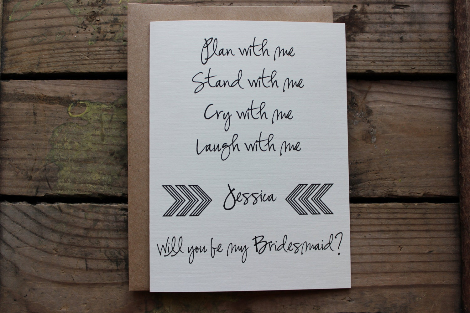 bridesmaid matron of honor wedding party card with
