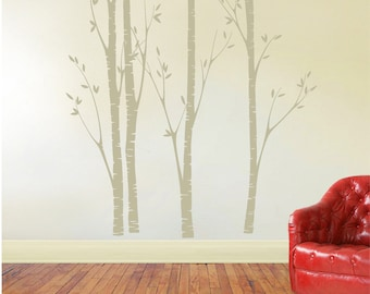 birch tree decal, nursery birch decal, tree wall decal, Four Birch Trees, Vinyl Wall Decal