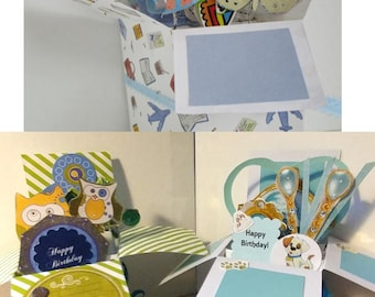 Handmade Birthday - Fish, Owl, or Dog Theme - Pop Up Exploding Box Card Free Shipping USA