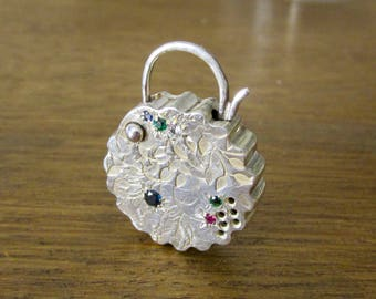 Perfume Garden Padlock in Sterling Silver Genuine Emeralds Rubies Sapphires Perfect Long Necklaces Made to Order Anniversary Gift for Wife