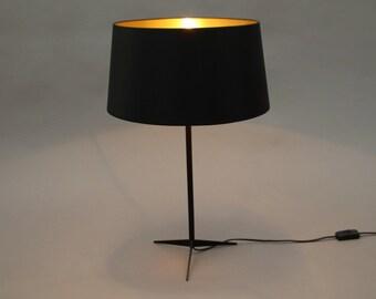Tischlampe Naunyn schwarz/gold retro