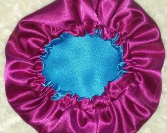 Pink & Blue Satin Hair Bonnet
