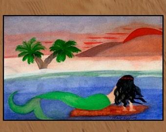 Sunset Mermaid non skid  indoor / outdoor floor mat