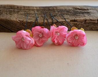 Pink  flower hair clip, wedding hair clip, bridal hair clip, Pink flowers Wedding clip, wedding hair accessories, Bridesmaid Hair