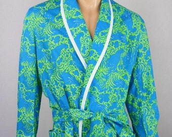 Vintage 1970's LiLLY PuLitZeR Men's Rooster Cock Patterned ReTrO Beach Bath Robe Size M L XL
