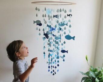 Large Fish Mobile - Nursery Mobile, Baby Mobile, Blue Fish, Hanging Mobile, Raindrop Mobile, Ocean Theme, Nautical Nursery.