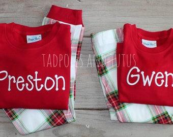 PRE ORDER Children's Christmas Pajamas, Xmas PJs, Christmas Pjs- Several Color Options, Monogram Christmas Pjs, Kids Christmas PJ, Applique