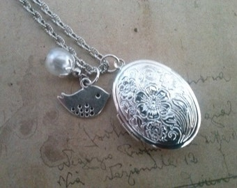 Oval medallion necklace with Sparrow charm ~ silver ~