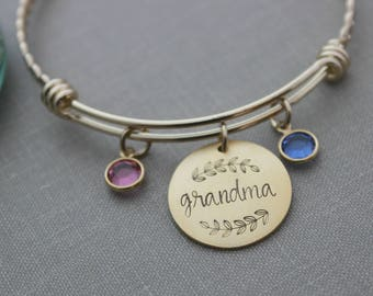 Grandma Gold plated stainless steel twisted braid bracelet, Hand stamped Name disc, Swarovski crystal birthstones and wire bangle bracelet