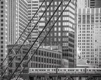 Chicago Photography- Loop  CTA Train Art, Black and White Chicago Photo Art, Chicago Architecture, Urban Decor, Chicago Canvas, Wall Art