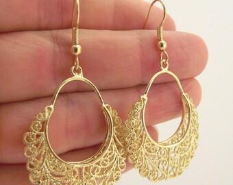 Fancy Round Gold Filigree Earrings, Gold Earrings