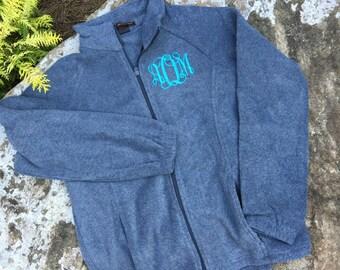 Monogrammed Fleece Jacket – Full Zip Fleece- Monogram Jacket – Personalized – Monogrammed Jacket - Gray - Monogram fleece