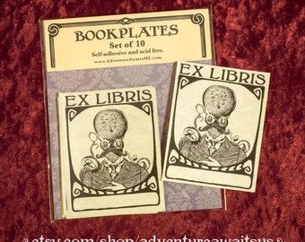 Octopus Gentleman Bookplate - book reader writer librarian bibliophile gift ex libris victorian steampunk cephalopod mustache monocle