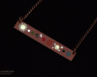 Bar necklace, galaxy, solar system, glow in the dark, unique necklace, galaxy necklace, solar system necklace, balance necklace, luminous