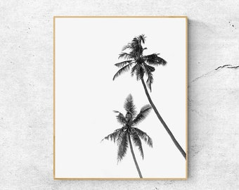 Palm Trees Print, Palm Print, Tropical Print, Scandinavian Print, Palm Leaf Print, Printable Wall Art, Black And White art, Tropical Decor