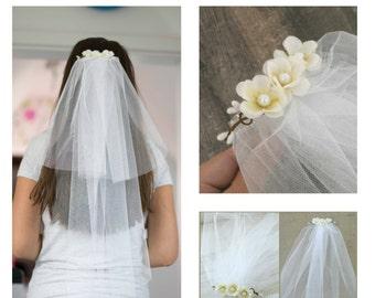 Bachelorette Veil Bridal Shower Veil Party Accessory Headband Veil Flower Bride Party Rustic Wedding