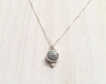 Indonesian Snakeskin Agate and Brushed Silver Necklace - Sterling and Fine Silver Bezel Set Fossil Pendant Rare OOAK Gift Gray Scales