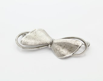 Vintage 1950s Sterling Silver Bow Brooch. [2139]