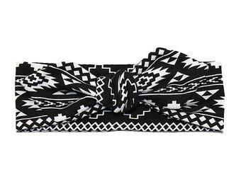 Tribal Headband - Girls Headband - Baby Headband - Toddler Headband - Black and White Headband - Tribal Knotted Headband - Tribal Headwrap