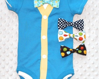 Baby Boy Cardigan and Bow Tie Set, Teal and Yellow, Baby Suit, Baby Boy Outfit, Baby Boy Clothes, Trendy Baby Boy Outfit, Smash Cake Outfit