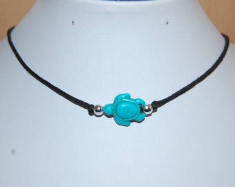 Turtle Necklace,Turtle Chocker Necklace,Turquoise Turtle Choker Necklace,Girl,Woman,Boho,Chic,Cord Necklace,Beach,Yoga Necklace,Gift For Her