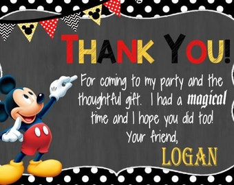 Mickey Mouse Thank You Card, Mickey Thank You, Mickey Birthday Thank You  20 Printed Cards & Envelopes, Mickey Mouse