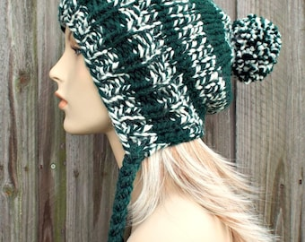 Pine Green Slouchy Pom Pom Hat - Green and Cream Hat - Green Hat Green Beanie Slouchy Hat Slouchy Beanie Winter Hat - READY TO SHIP