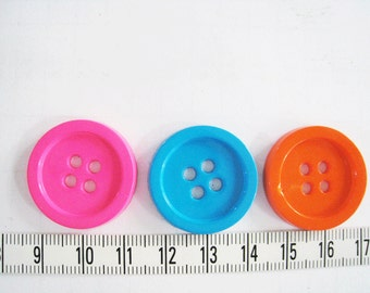 20 pcs of  Four Hole Button in Mixed Colors  - 26mm or 1 inch  Teal Hot Pink Orange