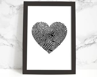 Heart Fingerprint Printable Art, Wall Art Print, Instant Download, Printable Quotes, Motivational Art, Printable Wall Art