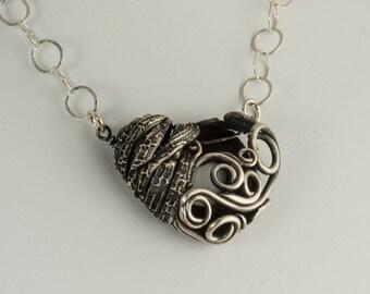 Heart Necklace Silver Spirals Healing