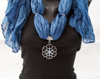 DENIM Colored Blue Jeweled Necklace FlowerPendant Scarf