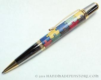 AUTISM AWARENESS Puzzle pen (#6) - wood inlayed in Black Titanium/Titanium Gold Sierra style pen