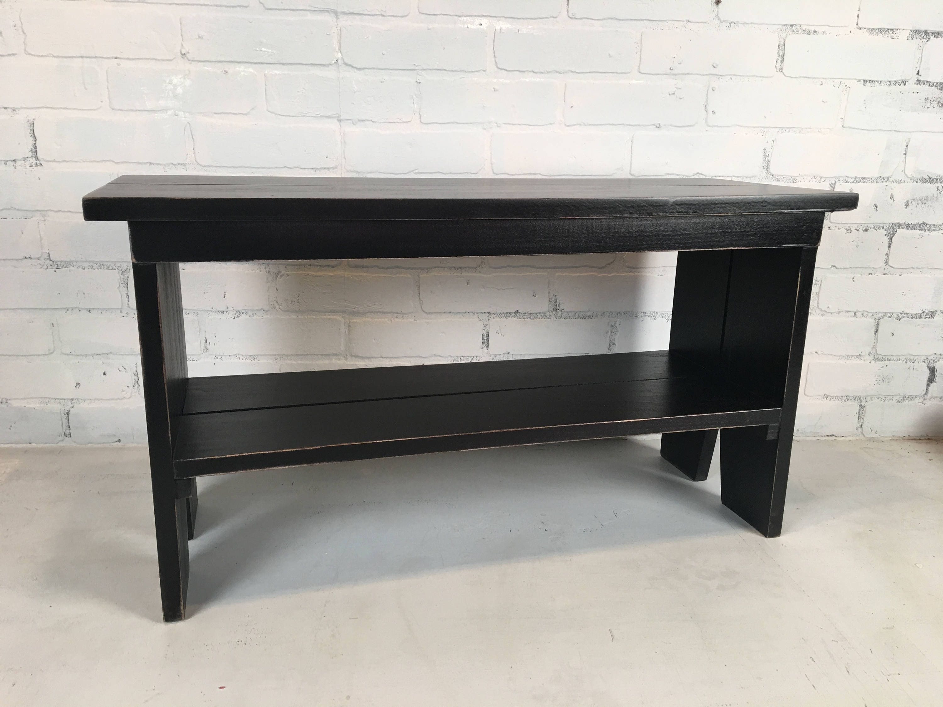 Wooden Bench with Vintage Black Finish Indoor Cottage Seating