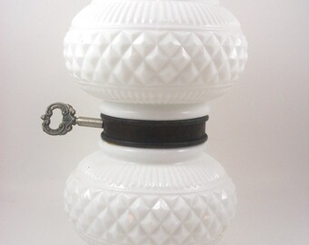 Milk Glass Lamp Body Replacement Part Double Globe Diamond Pattern with Turn Key