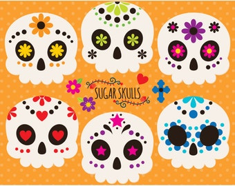 Clipart - Sugar Skulls / Cinco De Mayo / Mexico / Day of the Dead / Día de Muertos - Digital Clip Art (Instant Download)