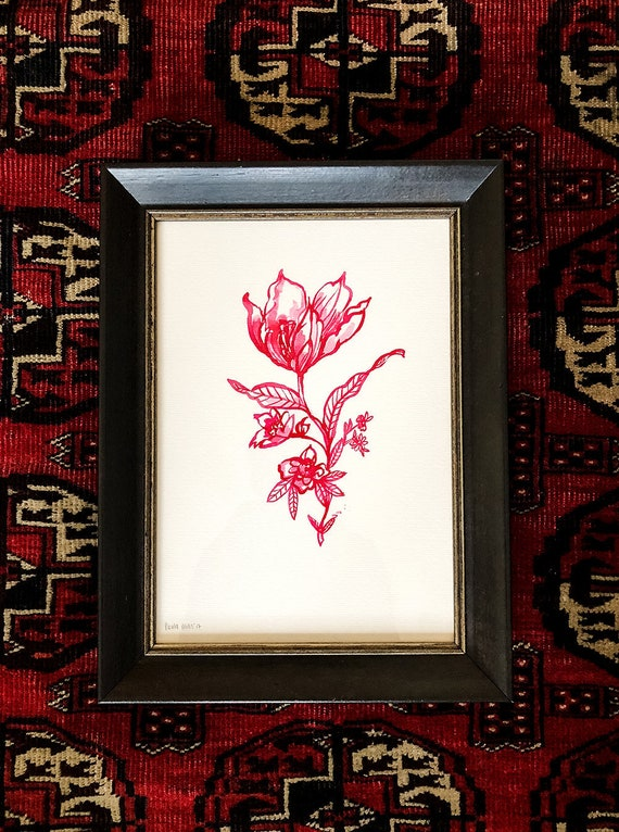 Original Framed Watercolour and Ink Painting Magenta Flower Study No.1 artwork by Paula Mills wall art