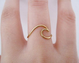 Wave Ring// gold wave ring, ring wave, ocean ring, surf ring,wire ring, adjustable ring, Brass ring,Dainty ring,Minimalist,boho, gypsy, Gift