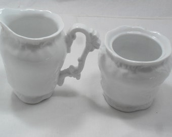 White Porcelain Sugar and Creamer-China,Elegant,Classic,Ceramic,Serving,Breakfast