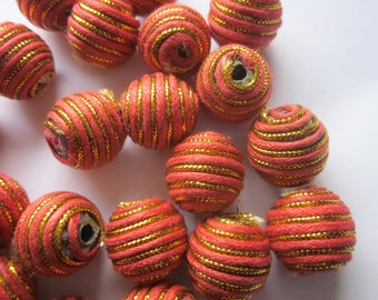 Salmon and Gold Woven Acrylic & Nylon Round Beads 16mm 14 Beads
