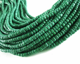 Coconut bead 120 moss green wood Beads - Coconut Rondelle Disk Beads 4-5mm