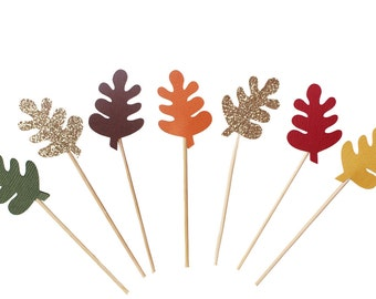 Fall Leaf Cupcake Toppers - Fall Baby Shower Cupcake Toppers - Fall Cupcake Toppers