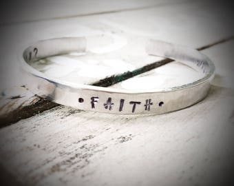 F A I T H - what if i fall, oh but what if you fly - hand stamped cuff bracelet - athlete gymnast gymnastics sports girl cuff bracelet
