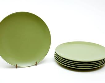 "1970s Chic: Avocado Melmac / Melamine Dishes - Texas Ware design - For Salad / Dessert / Sides - 6-3/4"" Round"