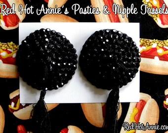Rhinestone Burlesque Pasties w/Tassels  - Black + Any Color Tassel