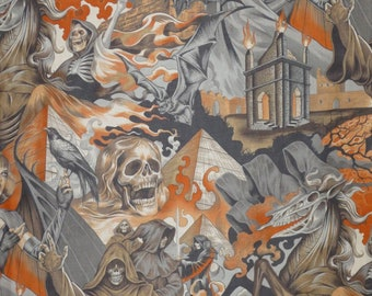 2 REMNANTS--Orange and Gray Scary Heart of Darkness Print Pure Cotton Fabric--TOTAL